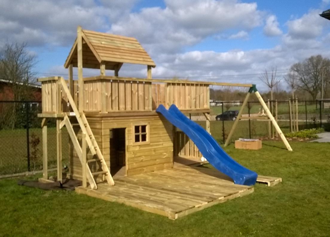 Speeltoestel balkon groot speelhuis met zandbak op maat 7 (#5813)